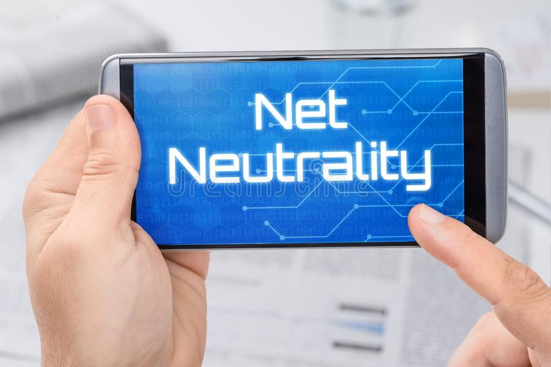 Smartphone with the text Net Neutrality stock image