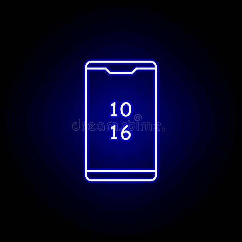 Smartphone time clock icon in blue neon style.. Elements of time illustration icon. Signs, symbols can be used for web, logo,. Mobile app, UI, UX on black royalty free illustration