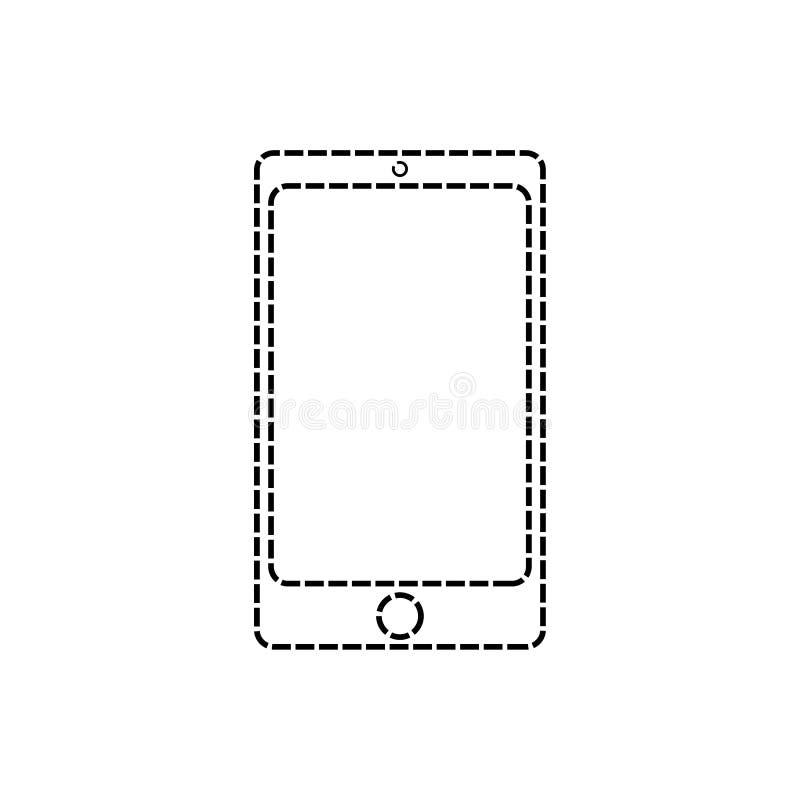 Smartphone tirado pela linha tracejada exterior Linha de telefone celular ?cone Telefone celular eps10 da garatuja ilustração royalty free