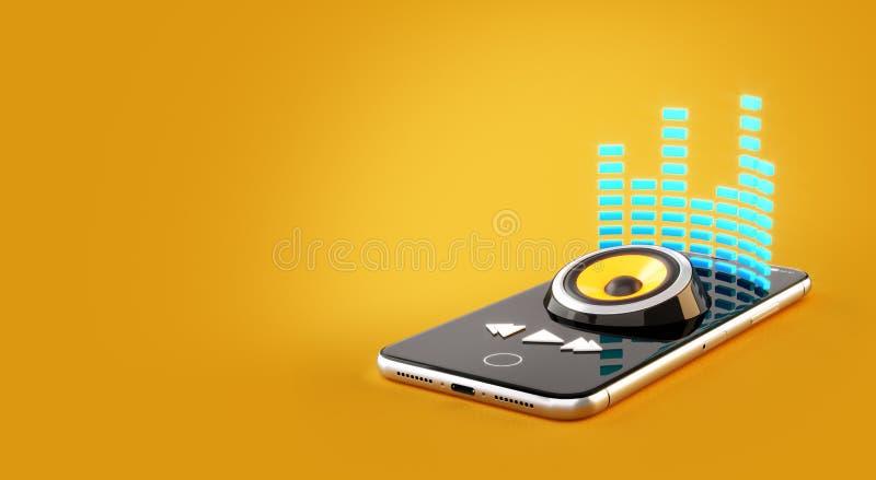 Smartphone-toepassing voor online het kopen, het downloaden en het luisteren aan muziek stock illustratie