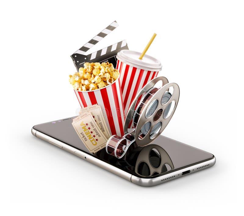 Smartphone-toepassing voor online het kopen en het boeken bioskoopkaartjes Leef het letten op films en video royalty-vrije illustratie