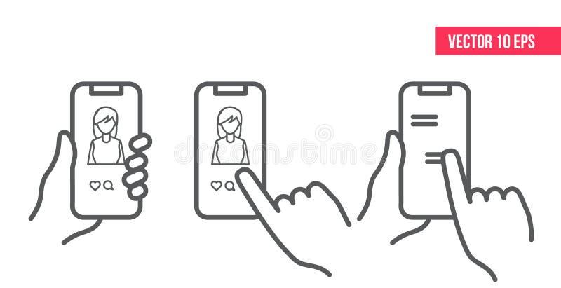 Smartphone-toepassingsconcept Als pictogram, handpictogram De mobiele telefoon van het tekstbericht Sociaal media concept stock illustratie