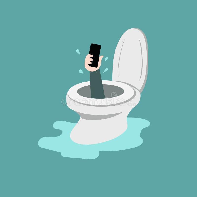 Smartphone in toilet bowl stock photos
