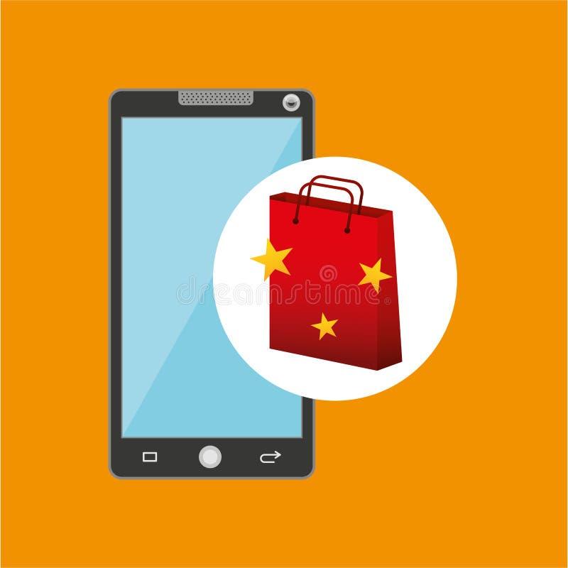 Smartphone torby prezenta gwiazdy czerwony projekt ilustracja wektor