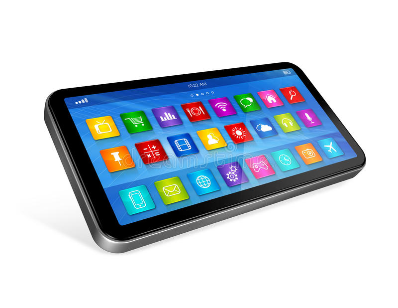 Download Smartphone Touchscreen HD - Apps Icons Interface Stock Illustration - Illustration of background, icons: 39087448