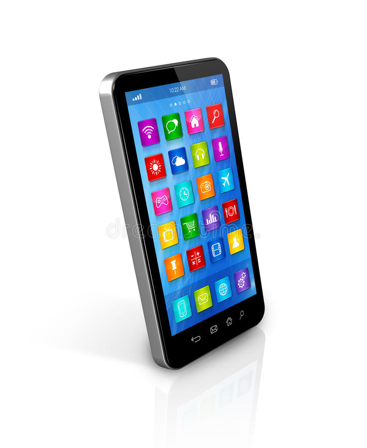 Smartphone Touchscreen HD - apps icons interface. 3D smartphone, mobile phone - apps icons interface - on white with clipping path stock illustration
