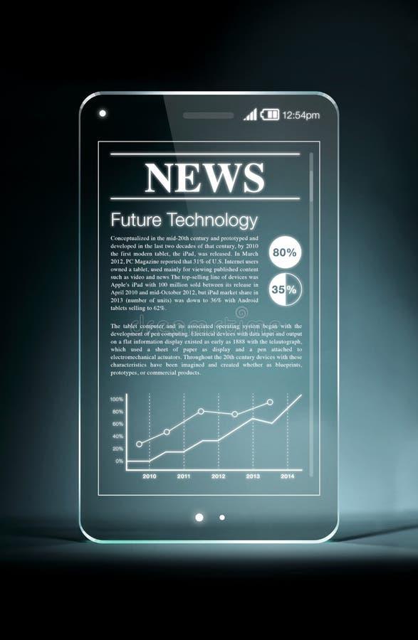 Smartphone trasparente con le notizie calde sullo schermo immagine stock libera da diritti