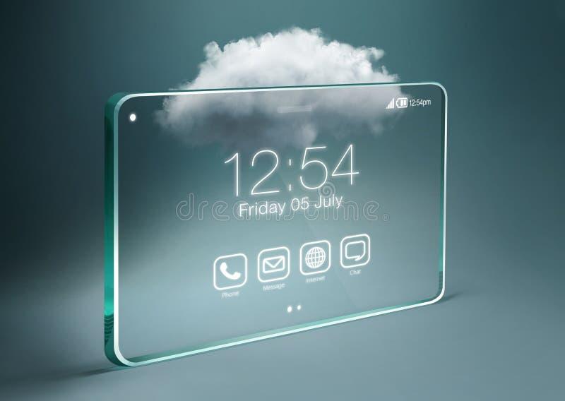 Smartphone trasparente con tecnologia di computazione della nuvola immagine stock