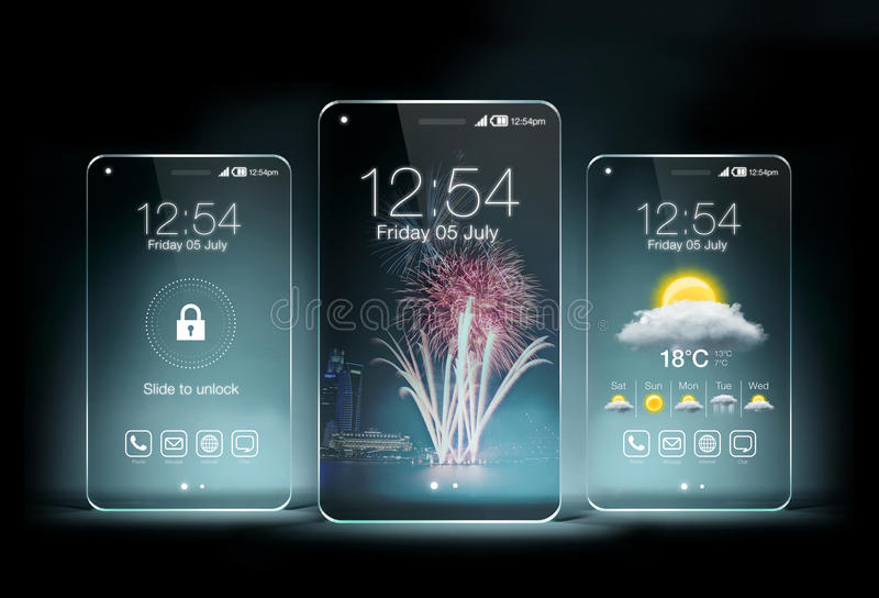 Smartphone trasparente tre sul fondo blu di colore fotografia stock libera da diritti