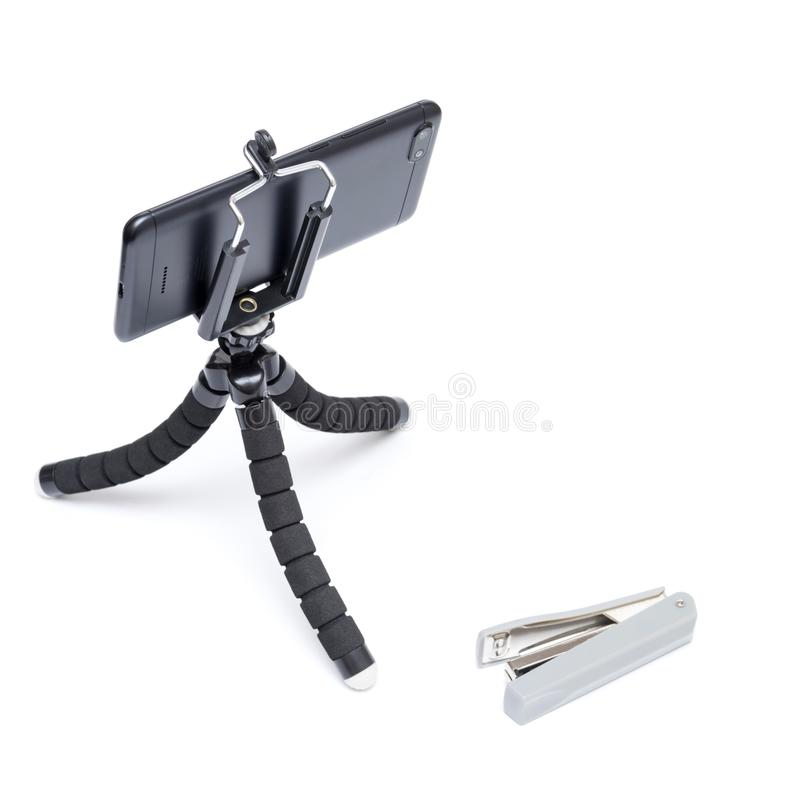 Smartphone on a tripod stock image