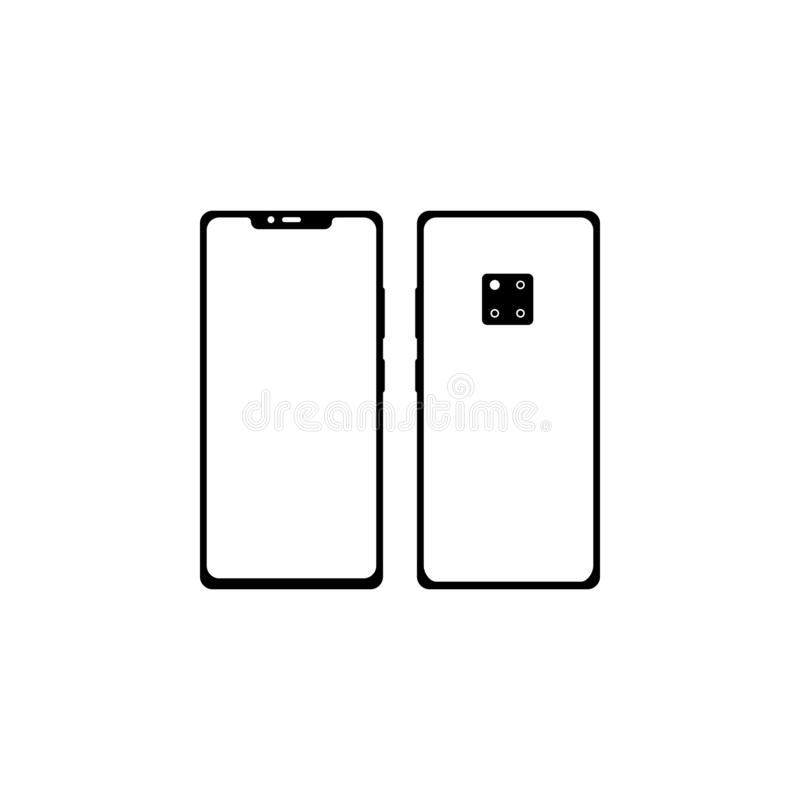 Smartphone, two sides. Front side with a yellow-gray screen, monitor. Backside with camera, flash and touch id. Buttons. Black. Color, highlights and shadows royalty free illustration