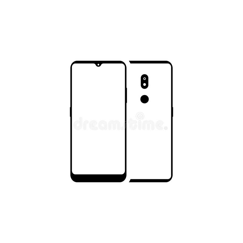 Smartphone, two sides. Front side with a yellow-gray screen, monitor. Backside with camera, flash and touch id. Buttons. Black. Color, highlights and shadows stock illustration