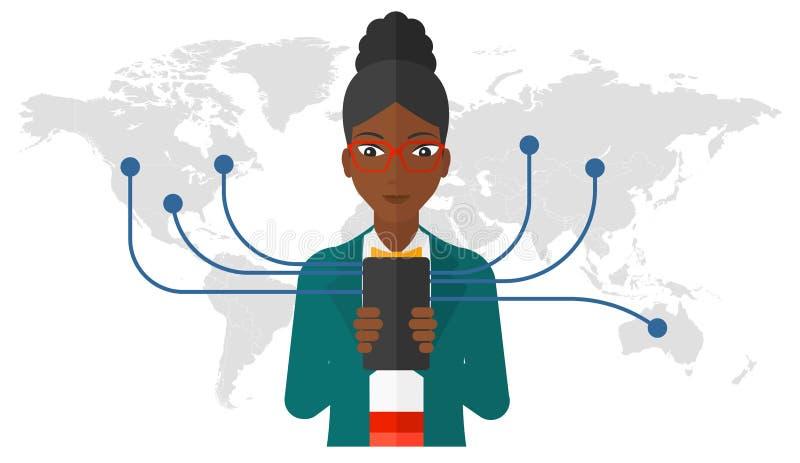 smartphone używać kobiety royalty ilustracja