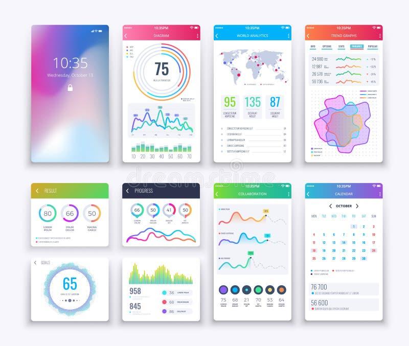 Smartphone UI Bewegliches Vektorgraphik ui und ux entwerfen, apps digitaler Lebensstil apps Schnittstellen-Schablonensatz stock abbildung