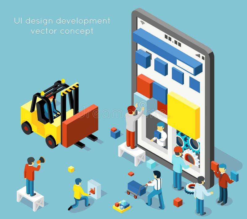 Smartphone UI design development vector concept in flat 3d isometric style stock illustration