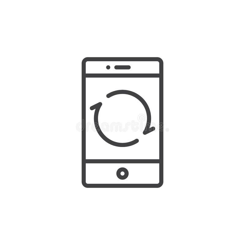 Smartphone-Umladenknopflinie Ikone stock abbildung