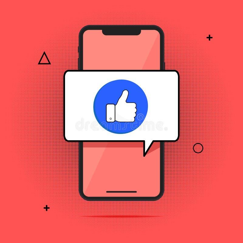 Smartphone und Finger oben, flacher Karikaturhandy genehmigten Mitteilung Börsentelegraf, die Idee einer erfolgreichen Person wir vektor abbildung