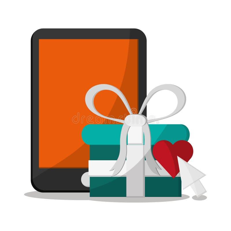 Smartphone und kaufendes on-line-Design lizenzfreie abbildung