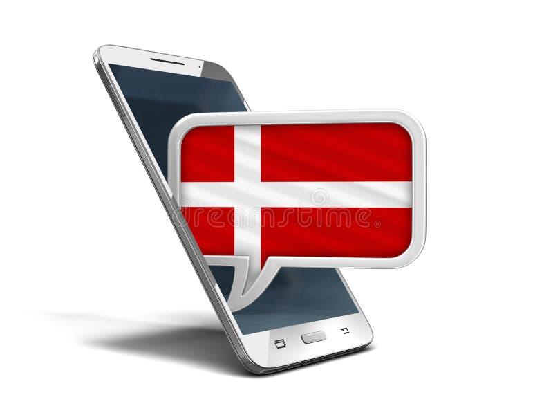 Smartphone und Rede des Bildschirm- sprudeln mit dänischer Flagge stock abbildung