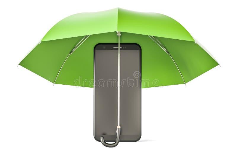Smartphone under paraplyet Telefonsäkerhet och antivirusprotecti stock illustrationer
