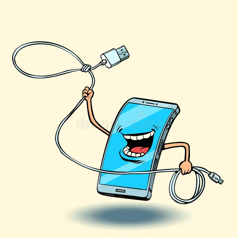 Smartphone and usb cord. lasso stock illustration