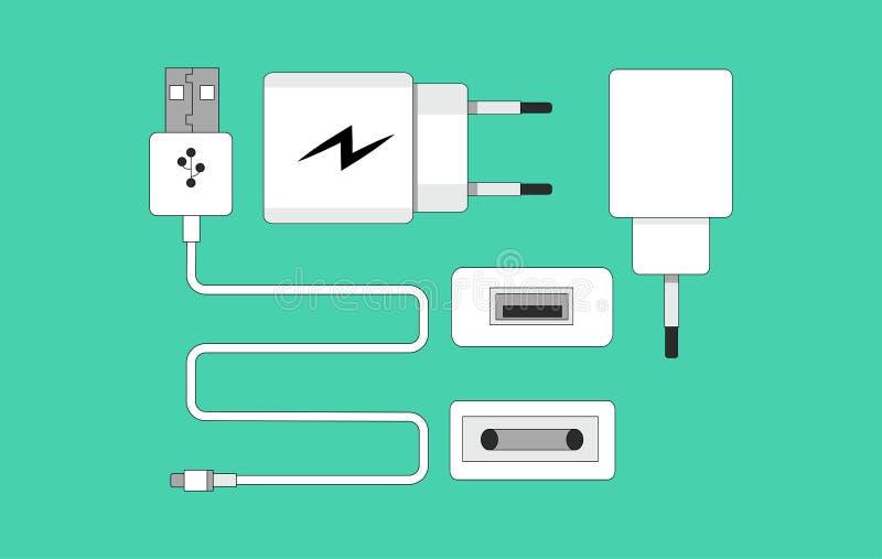 Smartphone USB-lader-adapter met USB Micro-kabelsocket en -connector voor pc en mobiele apparaten vlakke vectorillustratie stock afbeelding