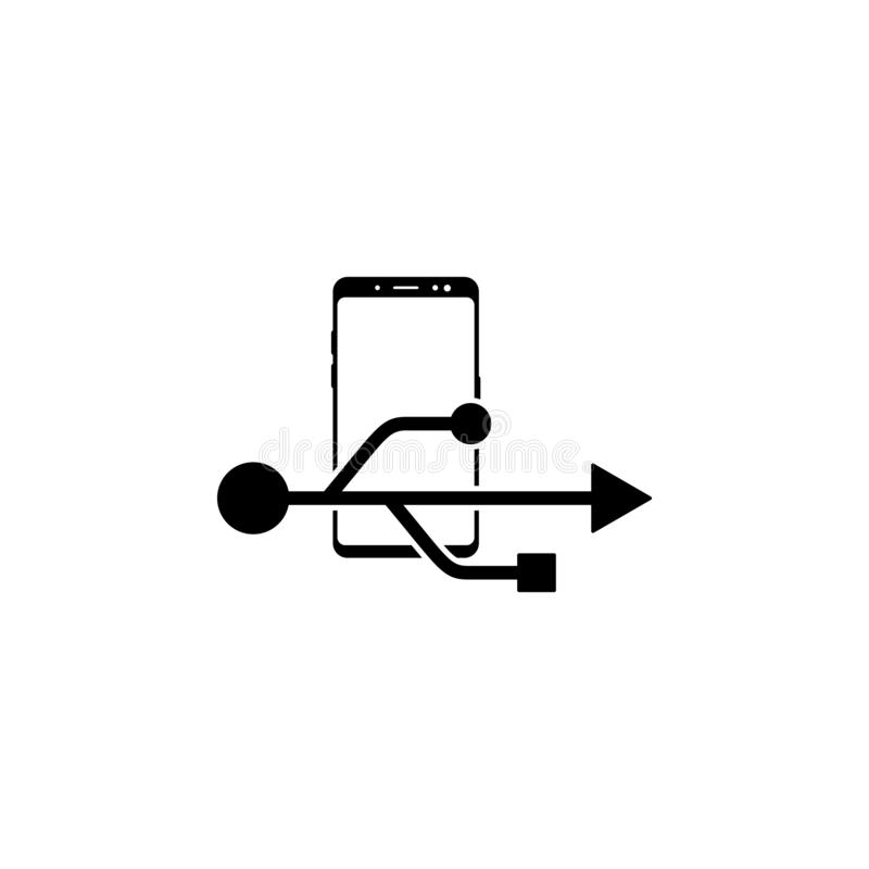 Smartphone, usb sign vector icon for websites and mobile minimalistic flat design. On white background stock illustration