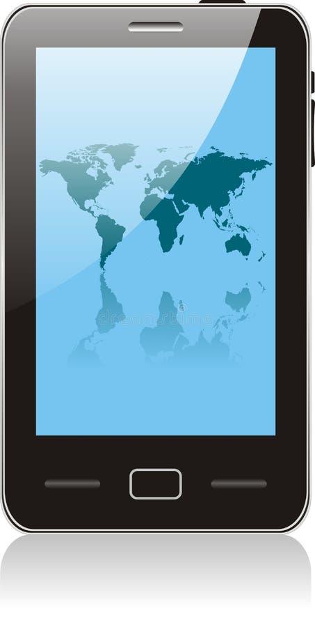 Smartphone van de aanraking met wereldkaart vector illustratie