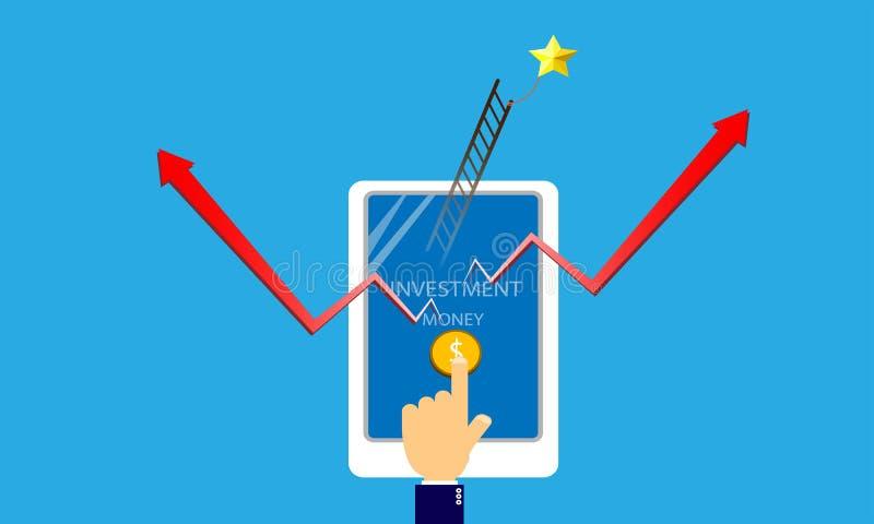 Smartphone van de handaanraking voor investering royalty-vrije stock afbeelding