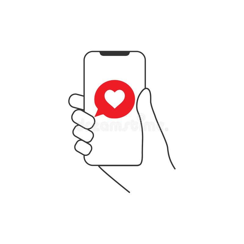 Smartphone van de handgreep, hart, liefde, praatje, berichtpictogram Vlak Ontwerp Vector illustratie stock illustratie