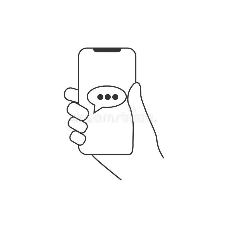 Smartphone van de handgreep, praatje, berichtpictogram Vlak Ontwerp Vector illustratie royalty-vrije illustratie