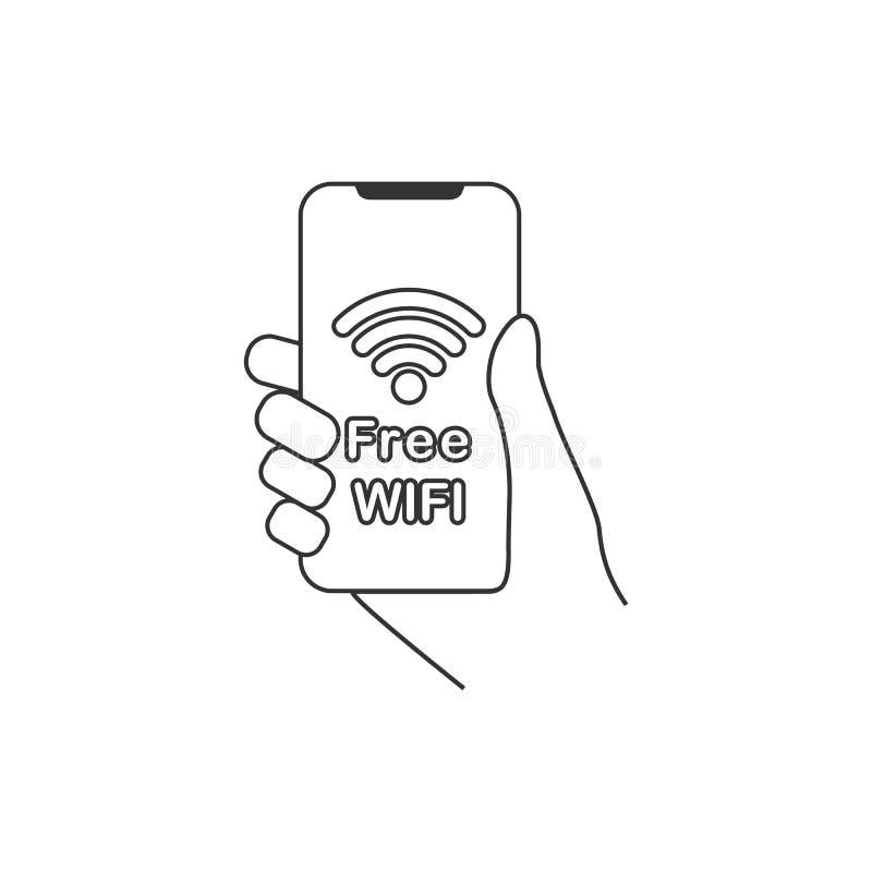 Smartphone van de handgreep, vrij WIFI-pictogram Vlak Ontwerp Vector illustratie vector illustratie