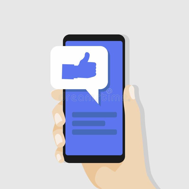 Smartphone van de handholding met gelijkaardig bericht op het scherm Sociaal netwerkconcept stock illustratie
