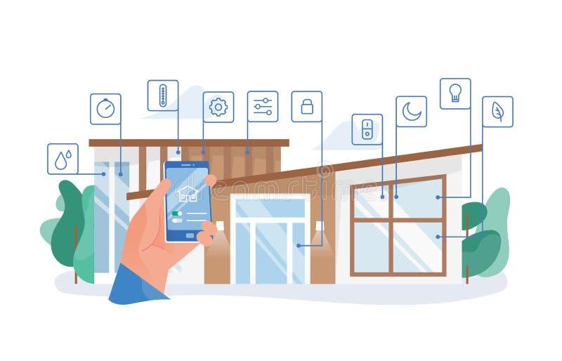 Smartphone van de handholding met mobiele toepassing voor huisautomatisering tegen woningbouw op achtergrond slim vector illustratie
