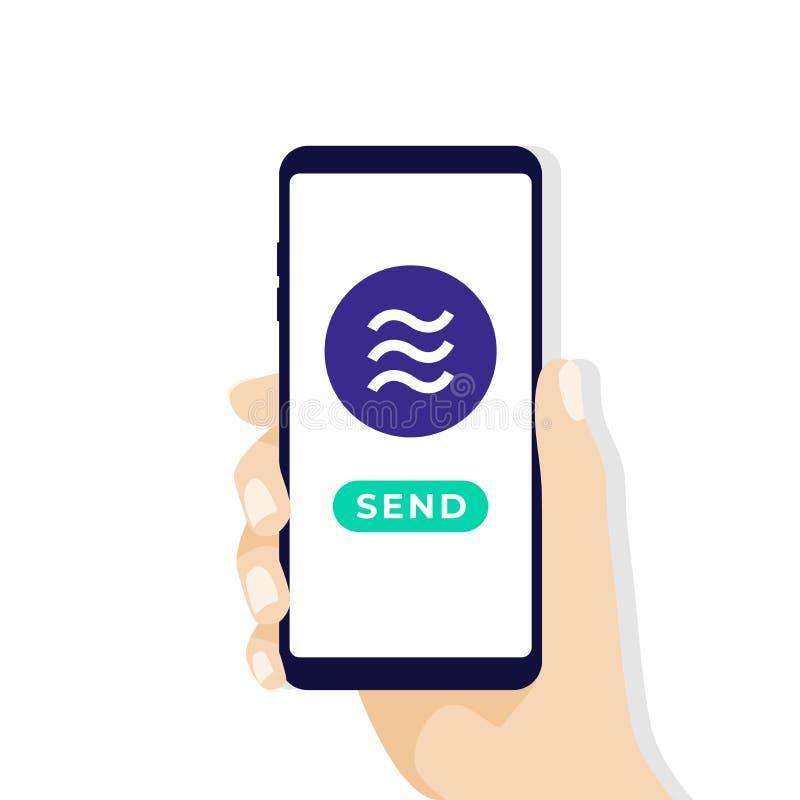 Smartphone van de handholding met de munt van het Weegschaalmuntstuk De online Crypto munt betaalt en verzendt concept vector illustratie