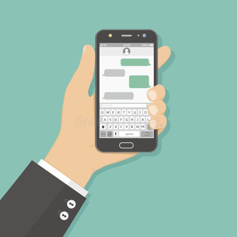 Smartphone van de handholding met overseinen sms app vector illustratie