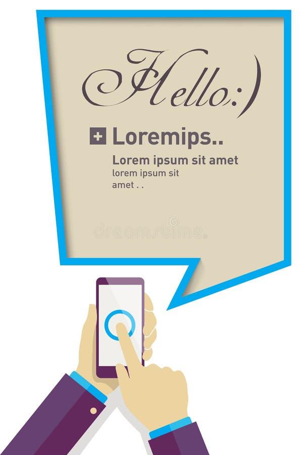 Smartphone van de handholding met toespraakbel, de vlakke illustratie van de ontwerpstijl stock illustratie