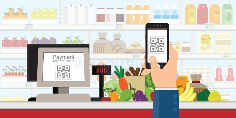 Smartphone van de handholding om QR-codebetaling in supermarkt, kleinhandelswinkel af te tasten keurde goed digitaal zonder geld, vector illustratie