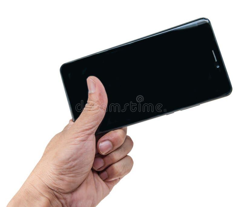 Smartphone van de handholding op witte achtergrond wordt geïsoleerd die witte scre royalty-vrije stock afbeeldingen