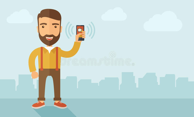 Smartphone van de persoonsholding vector illustratie