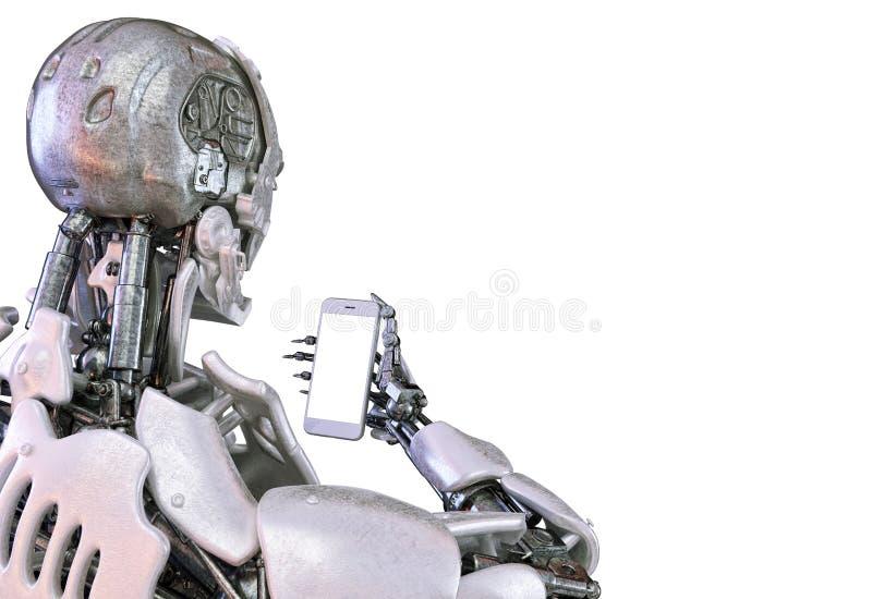 Smartphone van de robotholding met het lege scherm 3D Illustratie vector illustratie