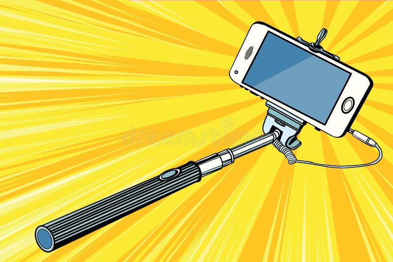 Smartphone van de Selfiestok het schieten stock illustratie