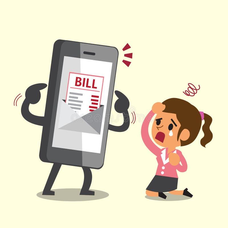 Smartphone van het bedrijfsconceptenbeeldverhaal toont elektronische rekeningsbetaling aan onderneemster royalty-vrije illustratie
