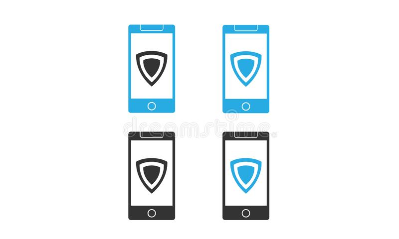 Smartphone vector with shiled security icon. different color smartphone vector icon concept vector illustration