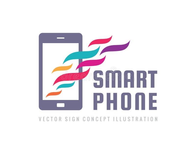 Smartphone-Vektorlogoschablone Kreatives Zeichen des Handys Moderne Technologieinsignien Mobiltelefon-Ikonen-Symbol vektor abbildung