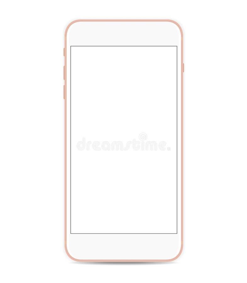 Smartphone vektormodell med den tomma skärmen som isoleras på vit bakgrund stock illustrationer
