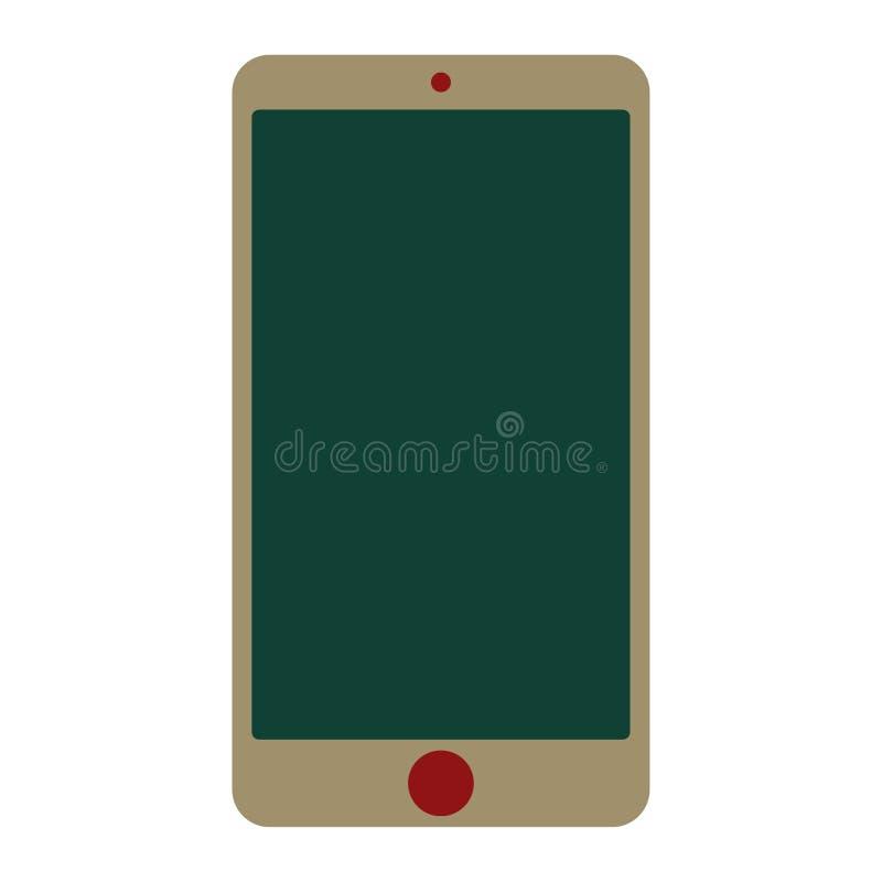 Smartphone verde do telefone celular com o botão vermelho da câmera e do menu com a tela de creme da cor Vetor verde eps10 do tel ilustração do vetor