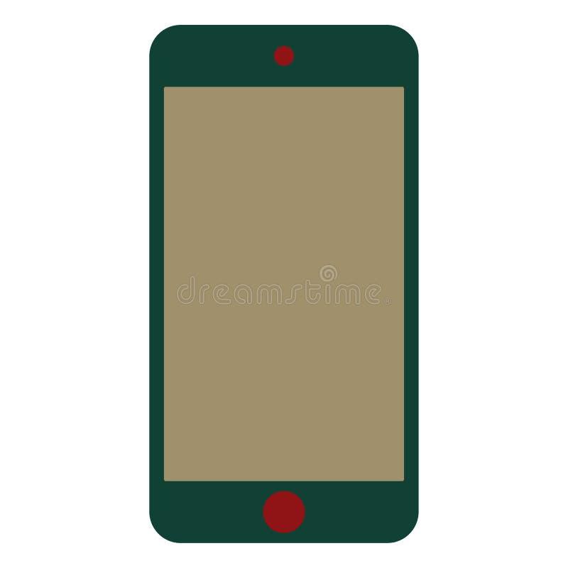 Smartphone verde do telefone celular com o bot?o vermelho do menu do nd da c?mera com a tela de creme da cor Vetor verde eps10 do ilustração royalty free