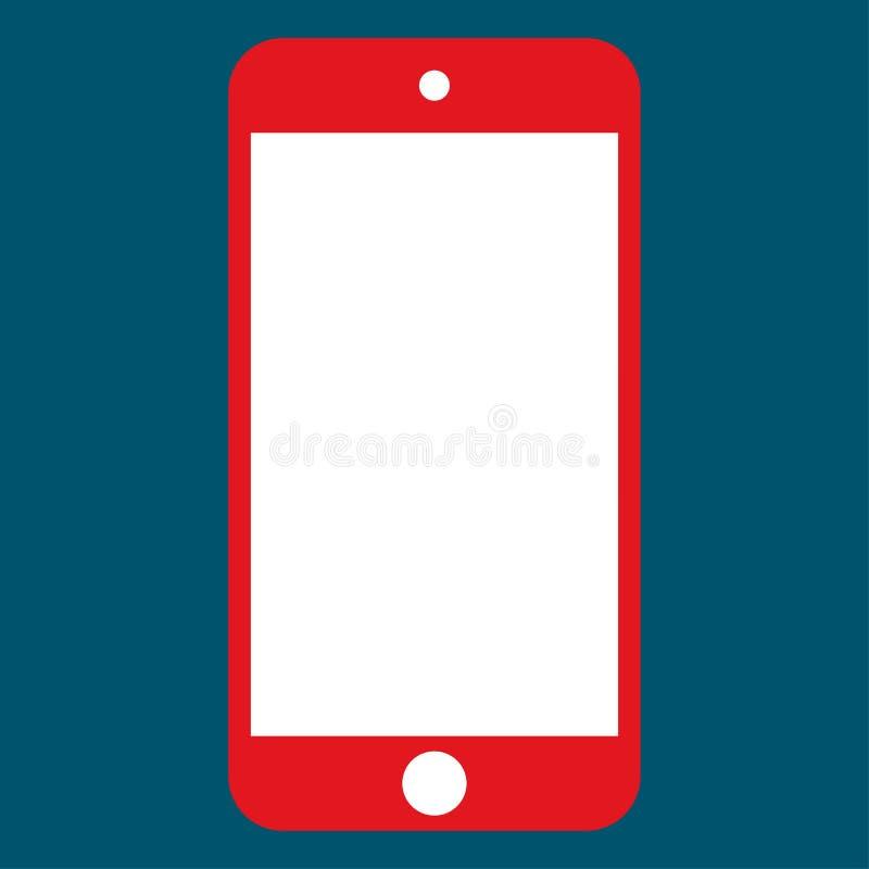Smartphone vermelho do telefone celular com o botão branco da câmera e do menu com a tela branca da cor vetor vermelho eps10 do t ilustração stock