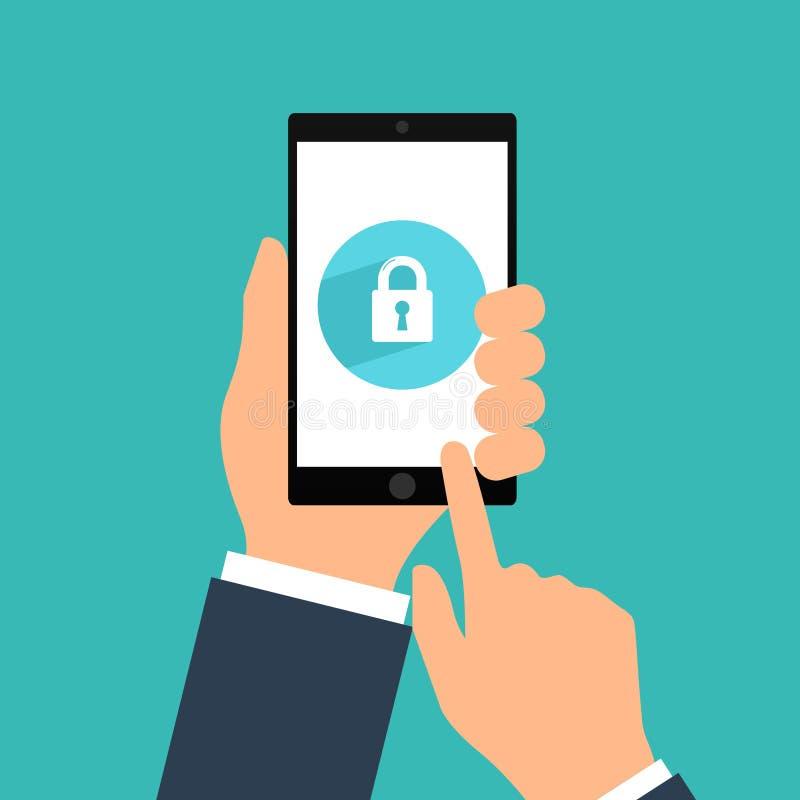 Smartphone-Verschlussschirm Handgriff Smartphone, Fingernotenmit berührungseingabe bildschirm Modernes Konzept für Netzfahnen, We lizenzfreie abbildung